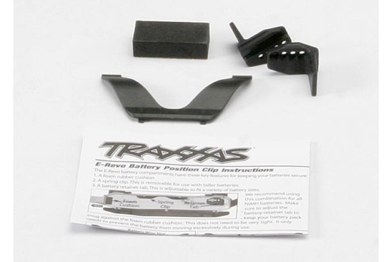 Запчасти для радиоуправляемых моделей Traxxas TRAXXAS Retainer clip, battery (1): front clip (1) :rear foam spacer (for one compartm