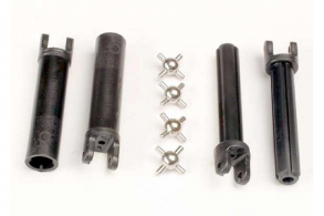 TRAXXAS запчасти Half shafts, long truck (external-splined (2) & internal-splined (2): metal U-joints (4)