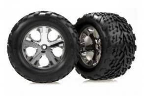 TRAXXAS запчасти Tires & wheels, assembled, glued (2.8'') (All-Star chrome wheels, Talon tires, foam in