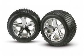 TRAXXAS запчасти Tires & wheels, assembled, glued (2.8'') (All-Star chrome wheels, Alias tires, foam in