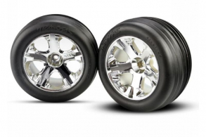 TRAXXAS запчасти Tires & wheels, assembled, glued (2.8'')(All-Star chrome wheels, Ribbed tires, foam in