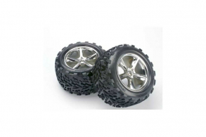 TRAXXAS запчасти Tires & wheels, assembled, glued (2.8'') (All-Star chrome wheels, Talon tires, foam in