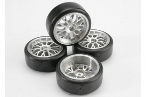 TRAXXAS запчасти Tires, Pro-Trax on-road (medium compound with contoured inserts) (mounted and glued to part #4872 wh