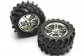 TRAXXAS запчасти Tires & wheels, assembled, glued (SS (Split Spoke) chrome wheels, Maxx tires, foam inserts) (2)