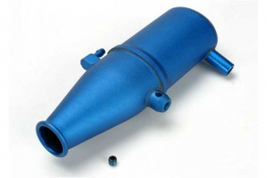 TRAXXAS запчасти Tuned pipe, aluminum, blue-anodized (dual chamber with pressure fitting): 4mm GS