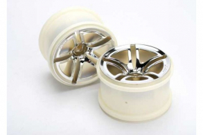 TRAXXAS запчасти Wheels, Twin-Spoke 2.8'' (chrome) (nitro front) (2)