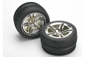 TRAXXAS запчасти Tires & wheels, assembled, glued (Twin-Spoke wheels, Victory tires, foam inserts) (nitro front)
