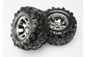 TRAXXAS запчасти Tires & wheels, assembled, glued (Geode chrome wheels, Canyon AT tires, foam inserts) (2) (use w