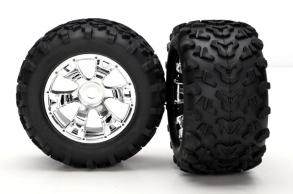 TRAXXAS запчасти Tires & wheels, assembled, glued (Geode chrome wheels, Maxx tires (6.3'' outer diamete