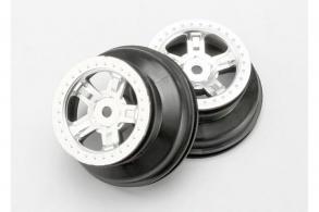 TRAXXAS запчасти Wheels, SCT satin chrome, beadlock style, dual profile (1.8'' inner, 1.4'' outer