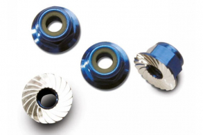 TRAXXAS запчасти Nuts, aluminum, flanged, serrated (4mm) (blue-anodized) (4)
