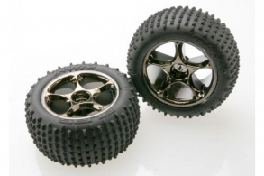 TRAXXAS запчасти Tires & wheels, assembled (Tracer 2.2'' black chrome wheels, Alias 2.2'' tir
