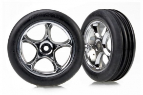 TRAXXAS запчасти Tires & wheels, assembled (Tracer 2.2'' chrome wheels, Alias ribbed 2.2'' ti