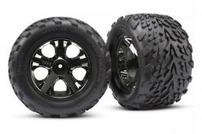 TRAXXAS запчасти Tires & wheels, assembled, glued (2.8'') (All-Star black chrome wheels, Talon tires, f