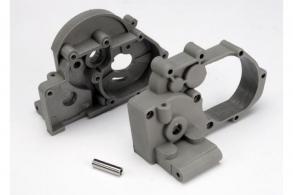 TRAXXAS запчасти Gearbox halves (l&r) (grey) w: idler gear shaft