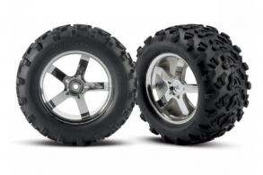 TRAXXAS запчасти Tires & wheels, assembled, glued (Hurricane chrome wheels, Maxx tires (6.3'' outer dia