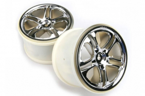 TRAXXAS запчасти Wheels, SS (split spoke) 3.8'' (chrome) (2) (fits Revo:Maxx series)