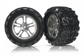 TRAXXAS запчасти Tires & wheels, assembled, glued (Split-Spoke satin-finish wheels, Talon tires, foam inserts) (2