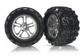 TRAXXAS запчасти Tires & wheels, assembled, glued (Split-Spoke satin-finish wheels, Talon tires, foam inserts) (2