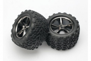 TRAXXAS запчасти Tires & wheels, assembled, glued (Gemini black chrome wheels, Talon tires, foam inserts) (2)