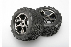 TRAXXAS запчасти Tires & wheels, assembled, glued (Gemini black chrome wheels, Talon tires, foam inserts) (2) (us