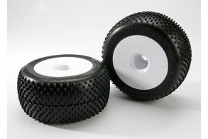TRAXXAS запчасти Tires & wheels, assembled, glued (white dished 3.8'' wheels, Response Pro tires, foam