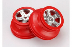 TRAXXAS запчасти Wheels, SCT satin chrome with red beadlock, dual profile (2.2'' outer 3.0'' inne