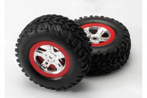 TRAXXAS запчасти Tires & wheels, assembled, glued (SCT, satin chrome, red beadlock wheels (dual profile 2.2'