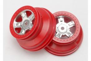 TRAXXAS запчасти Wheels, SCT satin chrome, red beadlock style, dual profile (1.8'' inner, 1.4'' o