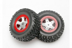 TRAXXAS запчасти Tires and wheels, assembled, glued (SCT satin chrome wheels, red beadlock style, SCT off-road racing