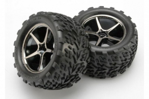 TRAXXAS запчасти Tires and wheels, assembled, glued (Gemini black chrome wheels, Talon tires, foam inserts) (2)