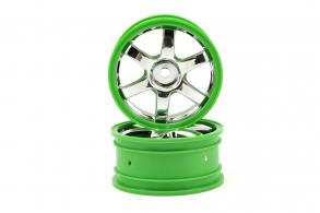 TRAXXAS запчасти Wheels, Volk Racing TE37 (chrome:green) (2)