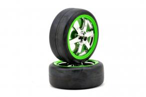 TRAXXAS запчасти Tires and wheels, assembled, glued (Volk Racing TE37 chrome:green wheels, 1.9 Gymkhana slick tires)