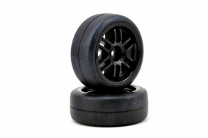 TRAXXAS запчасти Tires and wheels, assembled, glued (Rally wheels, black , 1.9 Gymkhana slick tires) (2)