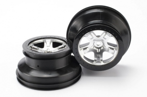 """TRAXXAS запчасти Wheels, SCT satin chrome, black beadlock style SCT, dual profile (2.2"""" outer, 3.0"""" inner) (4WD front"""