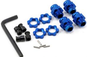 TRAXXAS запчасти Wheel hubs, splined, 17mm, short (4): wheel nuts, splined, 17mm (4) (blue-anodized): hub retainer M4