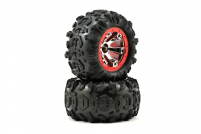 TRAXXAS запчасти Tires and wheels, assembled, glued (Geode chrome, red beadlock style wheels, Canyon AT tires, foam i
