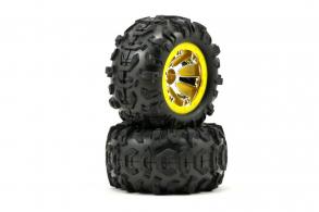 TRAXXAS запчасти Traxxas Pre-Mounted Canyon AT Tires w:Geode Beadlock Style Wheels (Chrome:Yellow) (2)