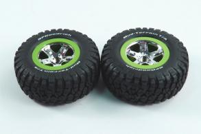 TRAXXAS запчасти Tires & wheels, assembled, glued (SCT, chrome, green beadlock wheel, BFGoodrich® Mud-Terrain™ T: