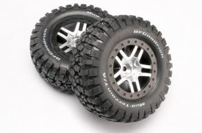 TRAXXAS запчасти Tires & wheels, assembled, glued (SCT Split-Spoke, satin chrome, black beadlock wheels, BFGoodri