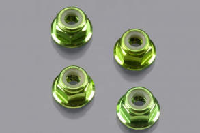 TRAXXAS запчасти Nuts, aluminum, flanged, serrated (4mm) (green-anodized) (4)