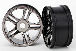 TRAXXAS запчасти Wheels, split-spoke (black chrome) (front) (2)