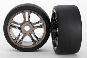 TRAXXAS запчасти Tires & wheels, assembled, glued (split-spoke, black chrome wheels, slick tires (S1 compound), f