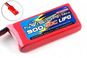 nVision Li-Po 7.4V(2s) 900mAh 30C JST Plug Soft Case
