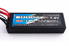nVision Li-Po 7.4V(2s) 8000mAh 90C Deans T Plug  Hard Case 10AWG