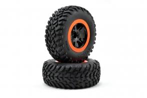 TRAXXAS запчасти Tire & wheel assy, glued (SCT black, orange beadlock wheels, SCT off-road racing tires, foam ins