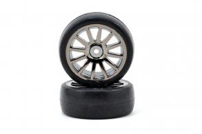 TRAXXAS запчасти Tires & wheels, assembled, glued (12-spoke black chrome wheels, slick tires) (2)