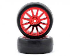 TRAXXAS запчасти Tires & wheels, assembled, glued (12-spoke red chrome wheels, slick tires) (2)