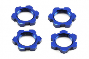 TRAXXAS запчасти Wheel nuts, splined, 17mm, serrated (blue-anodized) (4)