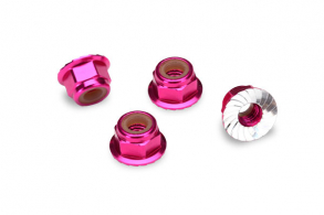 Разное Nuts, aluminum, flanged, serrated (4mm) (pink-anodized) (4)
